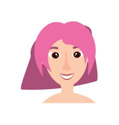 happy woman face cartoon vector image