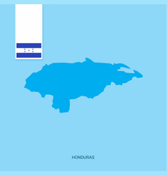Honduras country map with flag over blue vector