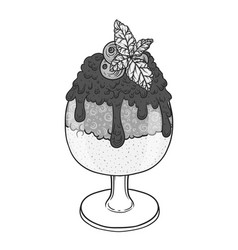 ice cream with chocolate sauce in a glass hand vector image