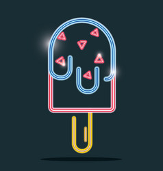 Ice lolly neon icon sign decoration vector