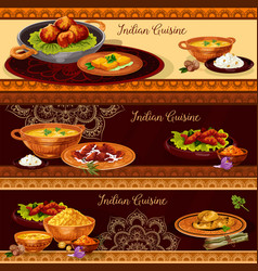 indian cuisine restaurant banner for thali design vector image