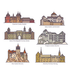 Isolated medieval castles europe architecture vector