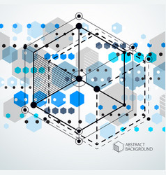 Isometric abstract blue background with linear vector