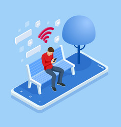 Isometric man in free internet zone using mobile vector