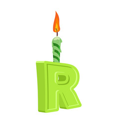 Letter r birthday font letter and candle vector