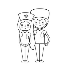 line doctor and nurse to help people vector image