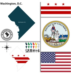 Map of washington dc with seal vector