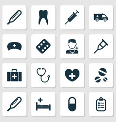 medicine icons set with heart stethoscope vector image