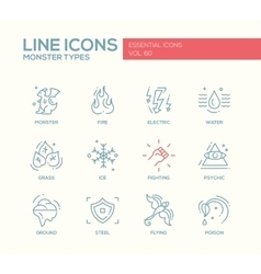 Monsters Types - line design icons set vector