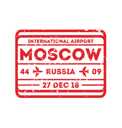 Moscow city visa stamp on passport vector