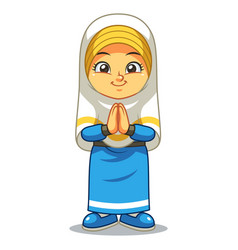 Moslem girl greeting salaam ramadan vector