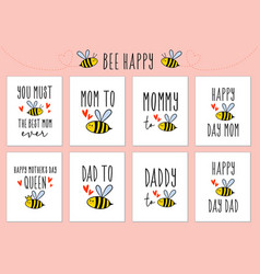 Mothers day fathers day cards with cute bee vector