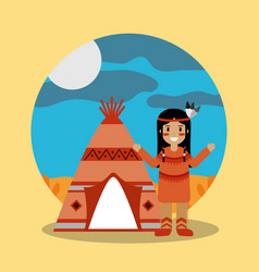 Native american indian standing teepee landscape vector