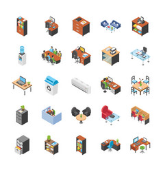 Office workplace icons vector