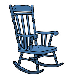 Old blue wooden rocking chair vector