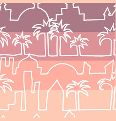 one line city with palm trees seamless vector image