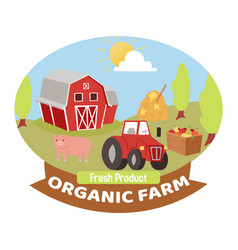 Organic farm production symbol or logo vector