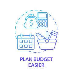 Plan budget easier blue gradient concept icon vector