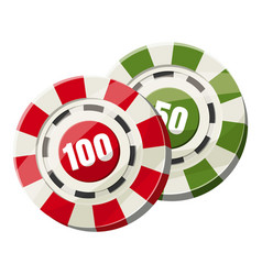 Poker chips nominal one hundred and fifty icon vector