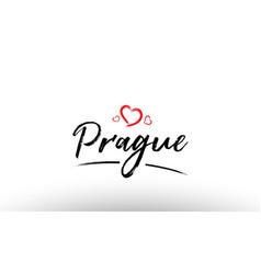 prague europe european city name love heart vector image