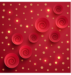 Red spiral twisted paper circles with gold vector