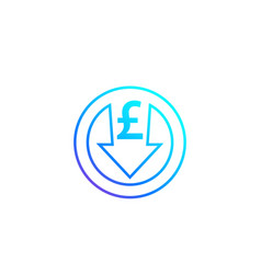 Reduce costs icon with british pound vector