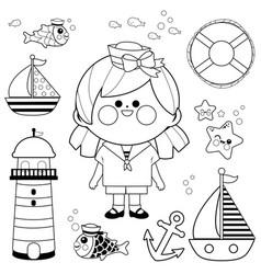 Sailor girl nautical set vector