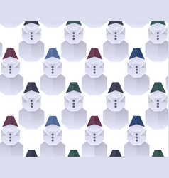 seamless texture with 3d paper origami snowman in vector image