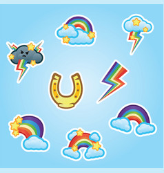set flat stickers horse shoe rainbow white vector image