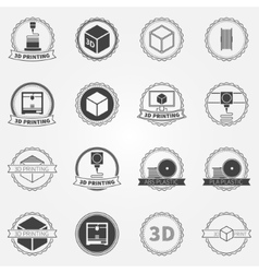 set of 3d printing emblems or logos vector image