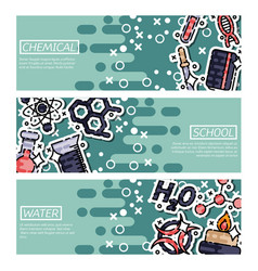 set of horizontal banners about chemical vector image