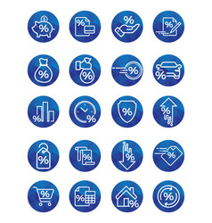 set of loan related line icons vector image