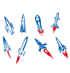set rockets and missiles vector image