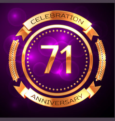 seventy one years anniversary celebration with vector image