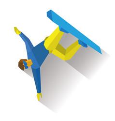 Snowboard halfpipe snowboarder performs a trick vector