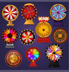 Spinning fortune wheel lucky roulette casino vector