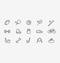 sport icon set fitness workout gym symbol vector image