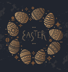 the circular template of easter egg flat vector image