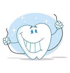 Tooth Character Holding Floss vector