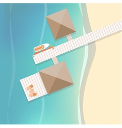 Top view tropical beach with white wooden pier vector