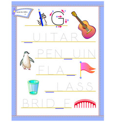 Tracing letter g for study english alphabet vector
