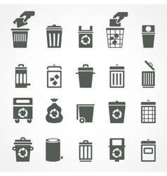Trash can and recycle bin icons vector image