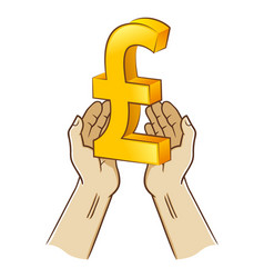 Two hand holding pound sterling currency symbol vector