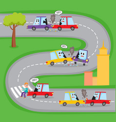 Various road accidents with funny car characters vector