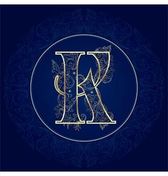 Vintage floral alphabet letter K vector