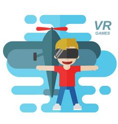Virtual reality games flat vector