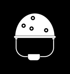 White icon on black background helmet with bullet vector