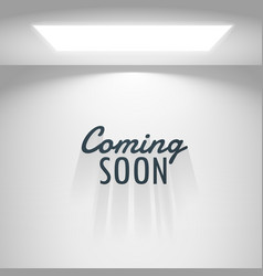 White room with light and coming soon text vector