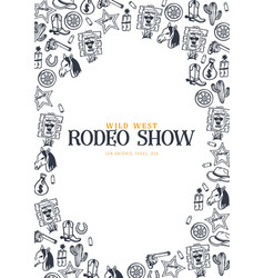 Wild west and cowboy banner rodeo show hand draw vector