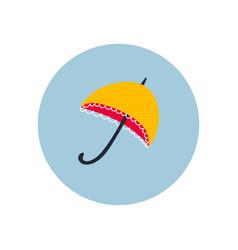 Yellow umbrella circle icon sticker vector